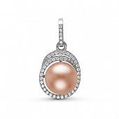 Кулон из серебра с розовой речной жемчужиной 10-10,5 мм