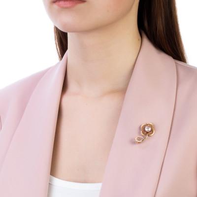 """Брошь """"Цветок"""" из серебра с розовой речной жемчужиной 7,5-8 мм"""