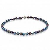 Ожерелье из черного барочного речного жемчуга. Жемчужины 5,5-6 мм