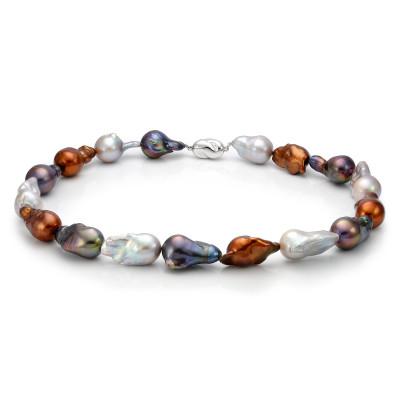 """Ожерелье """"микс"""" из цветного барочного речного жемчуга. Жемчужины 13-16 мм"""
