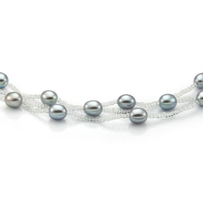 Ожерелье из серого рисообразного речного жемчуга и бисера. Жемчужины 9-10 мм