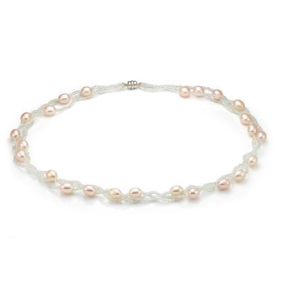Ожерелье из розового рисообразного жемчуга с бисером. Жемчужины 7,5-8 мм