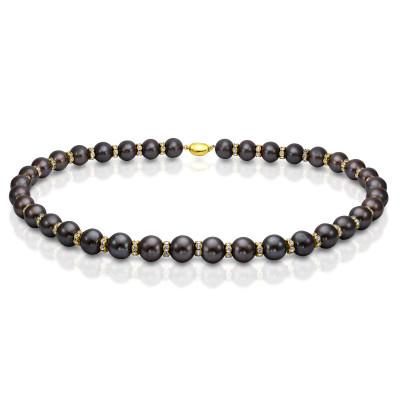 Ожерелье из черного пресноводного жемчуга со стразами. Жемчужины 12-13 мм