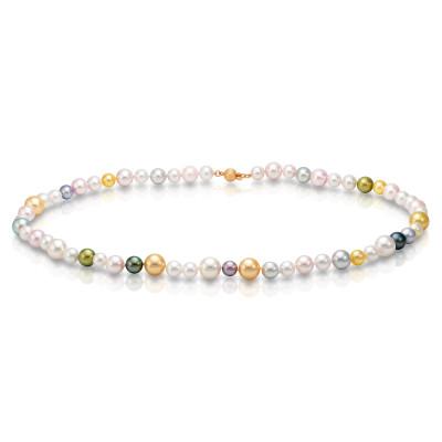 """Ожерелье """"микс"""" из морского круглого жемчуга Акойя (Япония). Жемчужины 6-9,5 мм"""