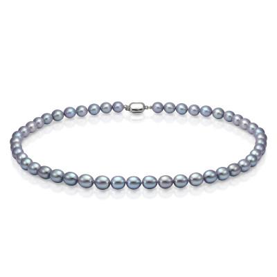 Ожерелье из серого рисообразного речного жемчуга. Жемчужины 9-10 мм