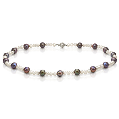 "Ожерелье ""микс"" из круглого речного жемчуга. Жемчужины 6-9,5 мм"
