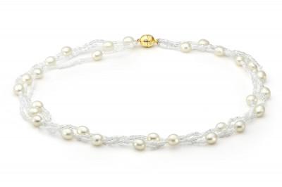 Ожерелье из белого рисообразного жемчуга с бисером. Жемчужины 7,5-8 мм
