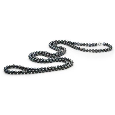 Длинные бусы из черного круглого морского японского жемчуга Акойя 6-6,5 мм