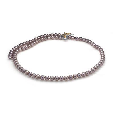 """Ожерелье """"галстук"""" из серого круглого речного жемчуга. Жемчужины 8-8,5 мм"""