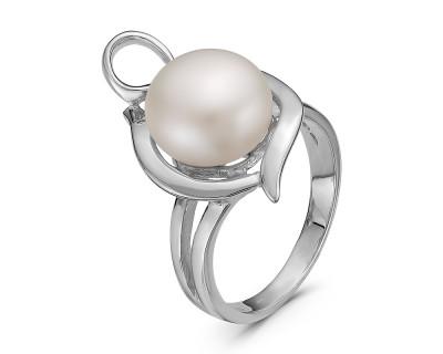 Кольцо из серебра с белой речной жемчужиной 11 мм